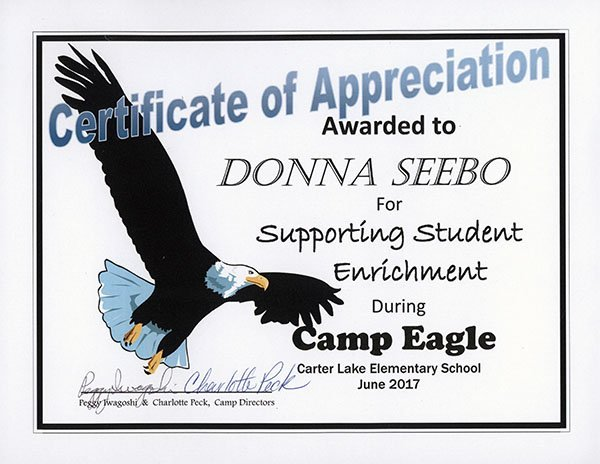 Camp Eagle Certificate of Appreciation